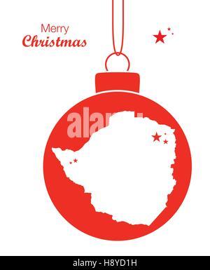 Merry Christmas illustration theme with map of Zimbabwe - Stock Photo