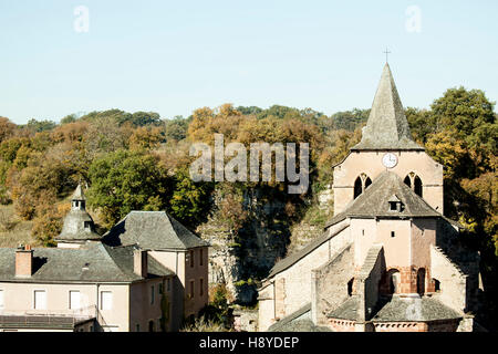 The Romanesque St Faust church at Bozouls, in Autumn (Aveyron - France). It is a stopping place on the way to St - Stock Photo