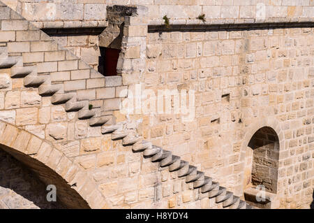 Escalier  des Remparts Aigues-Mortes,Camargue AIGUES-MORTES - FRANCE - Stock Photo