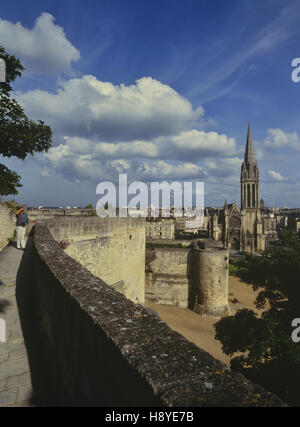 Church of Saint Pierre viewed  from the castle ramparts. Caen, Normandie. France - Stock Photo
