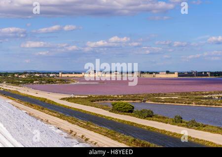 Les Remparts côté Sud vue des Salins du Midi Aigues-Mortes,Camargue - FRANCE - Stock Photo
