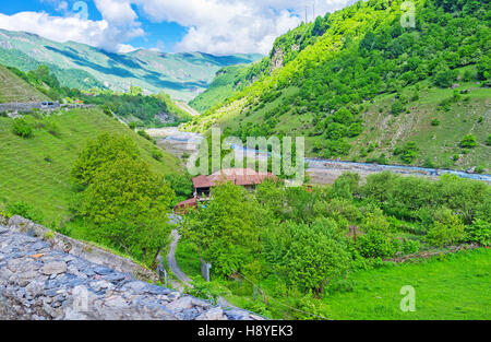 The agriculture lands in Aragvi River gorge, stretching along the Georgian Military Road, Georgia. - Stock Photo
