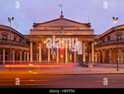 Uruguay, Montevideo, Twilight view of the Solis Theatre. - Stock Photo