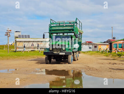Uruguay, Rocha Department, Cabo Polonio, Special trucks are used to get to the hamlet. - Stock Photo