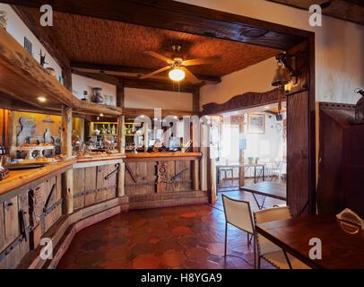 Uruguay, Maldonado Department, Punta Ballena, Cafe in the Casapueblo museum and art gallery of an artist Carlos - Stock Photo