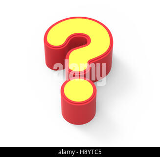 red framed yellow question mark, 3D rendering graphic isolated on white background, top view - Stock Photo