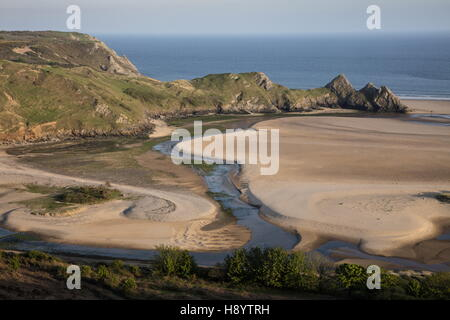 Three Cliffs Bay in spring, Penmaen, Gower Peninsula AONB, South Wales. - Stock Photo