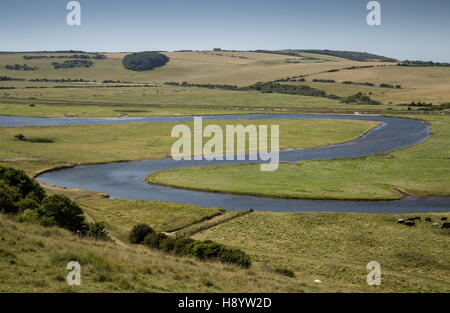 Meanders in the Cuckmere river at Cuckmere Haven, East Sussex. - Stock Photo