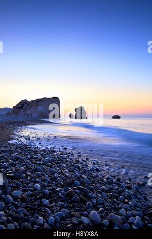 Aphrodite's Rock, Paphos, Cyprus, Eastern Mediterranean Sea - Stock Photo