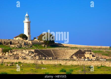 Lighthouse and Roman Odeon, Kato Pathos Archaeological Park, Pathos, Cyprus, Eastern Mediterranean Sea - Stock Photo