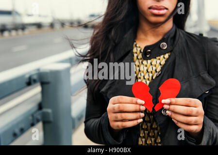 African Woman Broken Heart Disappointed Sad Concept - Stock Photo