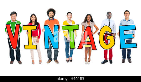 Multiethnic Group of People Holding Letter Vintage - Stock Photo