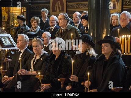 Copenhagen, Denmark. 10th Jan, 2017. Prince Dmitri Romanovich Romanov's widow Dorrit Reventlow (2nd L front) during - Stock Photo