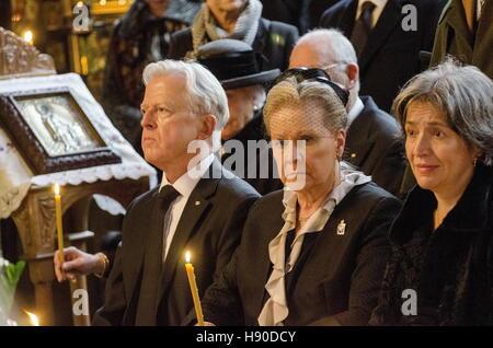 Copenhagen, Denmark. 10th Jan, 2017. Prince Dimitri Romanovich Romanov's widow Dorrit Reventlow (C), and other members - Stock Photo