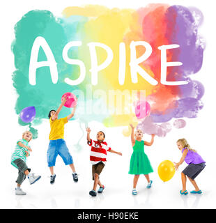 Ambition AIm Aspire Goals Motivation Aspirations Concept - Stock Photo