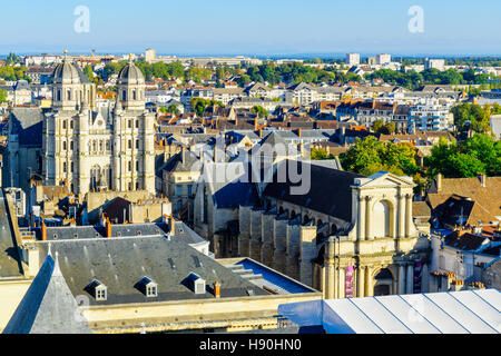 DIJON, FRANCE - OCTOBER 15, 2016: An aerial view of the historic center of the city, with St. Michel church, in - Stock Photo