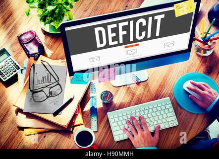 Deficit Risk Loss Deduct Recession Concept - Stock Photo