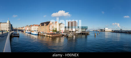 Panorama of Copenhagen Inner Harbour with Nyhavn and the Opera House, Copenhagen, Denmark - Stock Photo