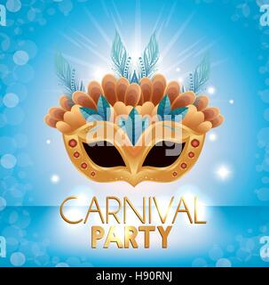 carnival party mask many feathers glittering background vector illustration eps 10 - Stock Photo