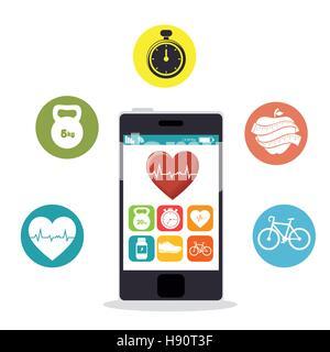 smartphone heart rate app fitness health vector illustration eps 10 - Stock Photo