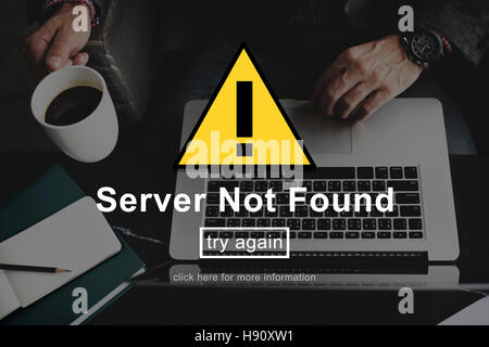Server Not Found Error Danger Caution Warning Concept - Stock Photo