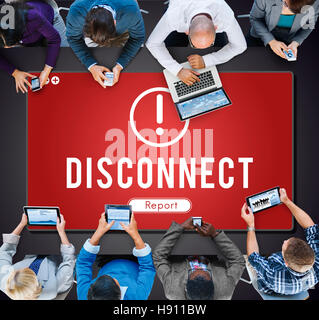 Disconnect Network Problem Technology Software Concept - Stock Photo