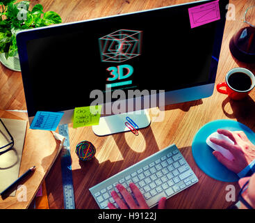 3D Three Dimensional Futuristic Display Modern Concept - Stock Photo