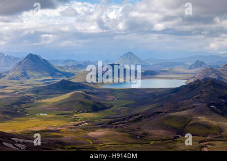 The Lake of Alftavatn Viewed From the Upper Slopes of Jokultungur on the Laugavegur Hiking Trail Iceland - Stock Photo