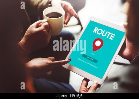 Route Map Navigation Track Places Concept - Stock Photo