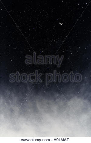 After we die / night skyscape with stars, clouds and the moon - Stock Photo