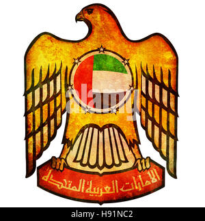 old isolated over white coat of arms of united arab emirates