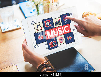 Music Audio Art Instrumental Melody Playing Concept - Stock Photo