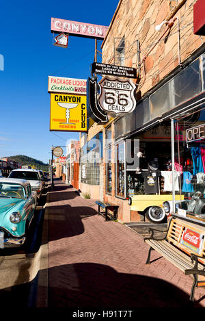 A street scene with souvenir shop in Williams Arizona - Stock Photo