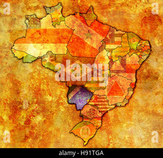 mato grosso do sul state on admistration map of brazil with flags - Stock Photo