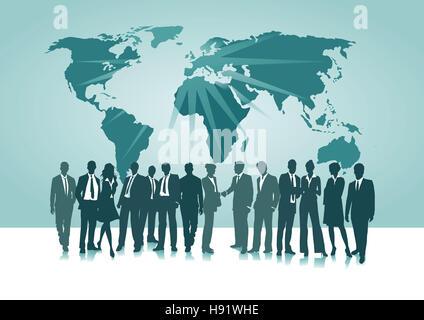 Connection Worldwide,  businessmen, world map, - Stock Photo