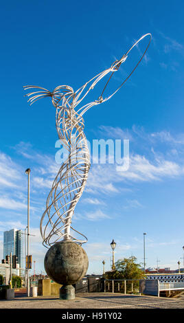 Beacon of Hope, the steal statue in Thanksgiving Square in Belfast, called  also Nuala with the Hula or Thing with - Stock Photo