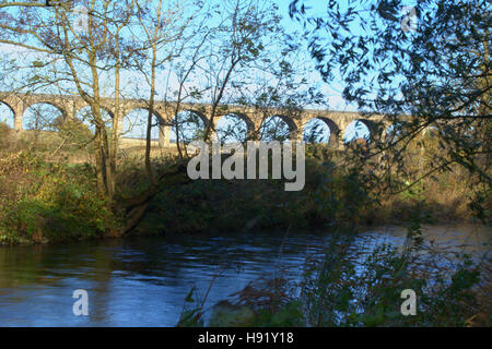 Avon Viaduct, West Lothian Scptland, pre- electrification of the line 21st October 2015 - Stock Photo