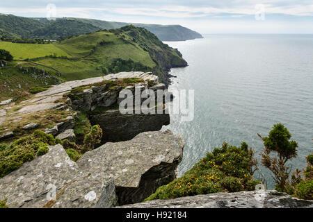 View from Castle Rock, The Valley of Rocks, near Lynton, Exmoor National Park, Devon.