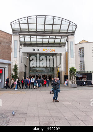 View of the entrance to Intu Uxbridge Shopping Centre, Uxbridge, Greater London, UK - Stock Photo