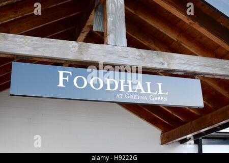 Gretna Green FoodHall sign, Dumfries and Galloway, Scotland, UK - Stock Photo