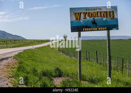 Welcome to Wyoming Sign - Stock Photo