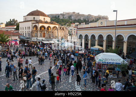 Monastiraki Square in Athens with Tsisdarakis Mosque & Metro Station - Stock Photo