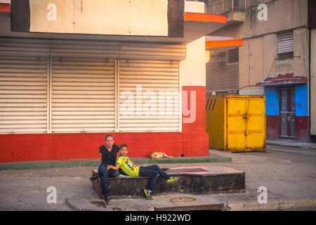 Havana, Cuba: Street scene along the Prado in Old Havana - Stock Photo