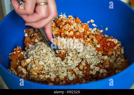 minced meat with oatmeal - Stock Photo