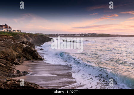 Rough sea at Little Fistral in Newquay in  Cornwall. - Stock Photo