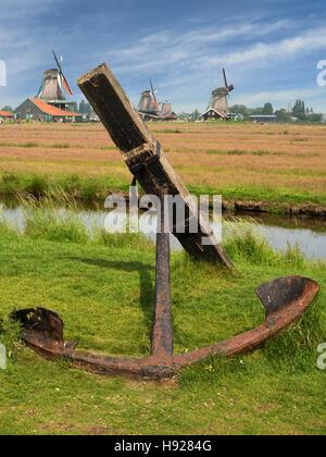 The open air museum in Zaanse Schans near Zaandijk in the Netherlands. - Stock Photo