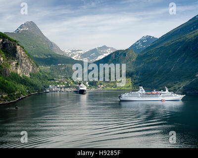 The magnificent Geiranger Fjord in the Sunnmore region of More og Romsdall in  Norway. - Stock Photo