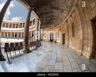 The Palace of Charles V in Granada in southern Spain. - Stock Photo