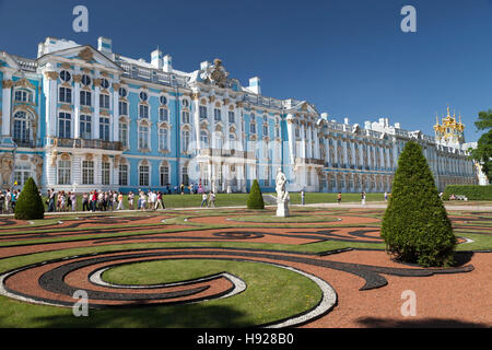 The lavish Catherine Palace located in the town of Pushkin near St Petersburg in Russia. - Stock Photo