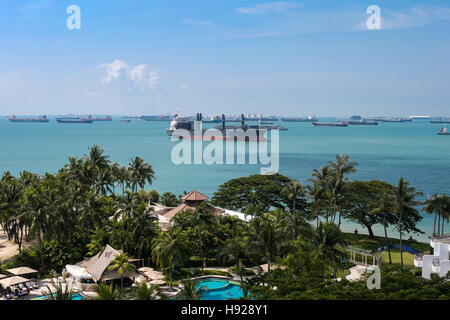 Day view on sea port near the island. - Stock Photo